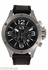 Armani Exchange Chronograph Black Leather Strap Watch AX1506
