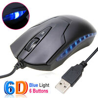 Blue Light 6 Buttons Optical USB Gaming Wired Mouse Scroll Computer Laptop PC