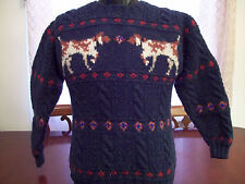 MENS VINTAGE WOOLRICH PURE WOOL SWEATER LONG SLEEVE WITH POINTER DOGS VERY RETRO