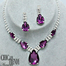 TRENDY PURPLE CRYSTAL PROM WEDDING FORMAL NECKLACE JEWELRY SET CHIC AND TRENDY