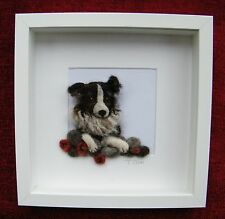 Handmade needle felted art work 'Gwen and the Dry Stone Wall' by  T.Dunn