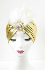 Gold Ivory White Feather Turban Headpiece 1920s Flapper Vintage Cloche Pearl 544