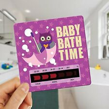 Owl Baby Bath Thermometer Card With New Moving Line Technology - Pink