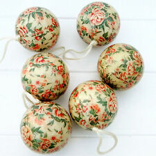Vintage Style Gisela Graham Set 6 Christmas Decorations Baubles Floral Roses