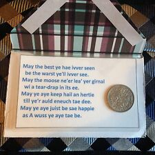 Scottish - Good Luck Gift - Laminated Card with real sixpence coin