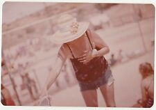 Vintage 70s PHOTO Woman In Hat & Shorts at Outdoor Event