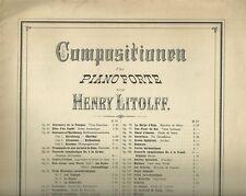 Spinnlied di Henry Litolff Antico Spartito Ottocentesco per Pianoforte 1898