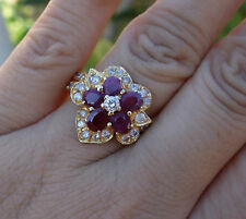 2ct ruby 1ct Diamond cluster floral ring 14k YG sz 6.75