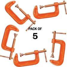 "PACK OF 5 CAST IRON 2"" 50 MM G CLAMPS WOOD WORKING WELDING CRAMPS COPPER PLATED"