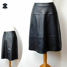 M&S AUTOGRAPH Luxury REAL LEATHER A-Line SKIRT ~ Size 12 ~ BLACK (rrp £149)
