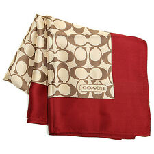 NWT Coach Sigature C Scarf 27 X 27 100% Silk 84270 Khaki / Red