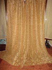WAVERLY RING TOP LEAVES CHENILLE WARM GOLD (PAIR) HEAVY CURTAIN PANELS 47 X 80