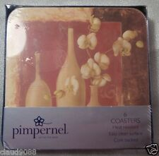 PIMPERNEL BY PORTMEIRION ORCHID MEMENTO SQ COASTERS  S6 10.5cm GIFT BOXED MINT