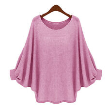 Fashion Womens Oversize Batwing Sleeve Loose Pullover Jumper Sweater Baggy Tops