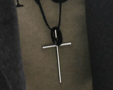 Vintage Fashion Leather Rope Silver Cross Long Pendant Metal Ring Necklace