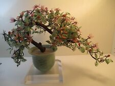 Vintage Oriental Bonsai Tree Asian JADE GLASS AGATE Tabletop Plant