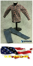 "❶❶1/6 clothes for 12"" Figure red blue Plaid  long sleeve shirt Jeans US seller❶❶"