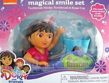 Nickelodeon DORA Explorer & Friends Smile Set Toothbrush Holder Cup Brush NIB