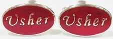 NOVELTY SILVER RED USHER WEDDING MENS DRESS CUFF LINKS CUFFLINKS (#1012)