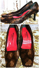 Sleek Leopard Print Pony Hair Fur Square Toe Red Sole Sonia Rykiel Heels 36.5