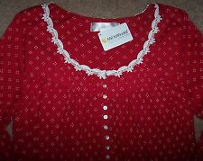 NWT Eileen West CRIMSON RED Dot Print Modal Ballet Nightgown Gown XL WHITE Lace