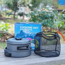 Camping Cookware Mess Kit Backpacking Gear Hiking Outdoors Bag Cooking Equipment