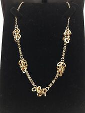 "Women's 14K Yellow Gold Rolo Chain with Oval Charms Pendant Necklace 16"" 9.3 g"