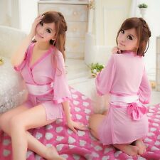 Brand New Sexy Pink Lace Kimono Cosplay Sleepwear Lingerie Costume Set