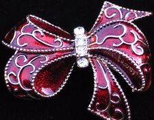 NIB MONET GOLD BURGANDY RED CELEBRATION BIRTHDAY PACKAGE BOW PIN BROOCH JEWELRY