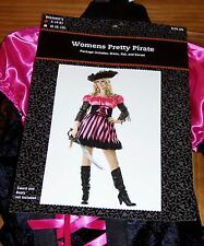 New Womens Small 4-6 Pretty Pirate Halloween Costume Black/Pink Corset Dress