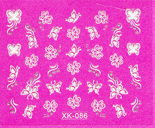 Nail Art 3D Decal Stickers Pretty White Butterflies with Rhinestones XK086