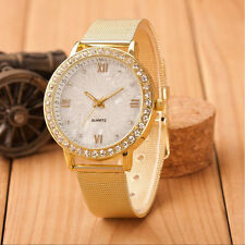 Classic Women Watches Ladies Crystal Roman Numerals Gold Mesh Band Wrist Watch