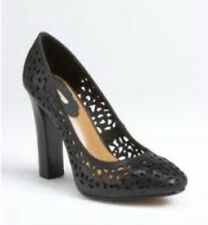 NEW MAX STUDIO PERFORATED CAREER WORK BUSINESS SEXY BLACK LEATHER PUMPS NIB 36 6