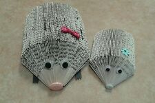 HEDGEHOG & BABY FOLDED BOOK ART MEMO / LETTER HOLDER / NOVELTY ORNAMENTS & BAG