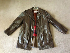 Vtg. Men's (THE LEATHER SHOP) SEARS® Fur Lined Mid-Length Brown Leather Coat, LG