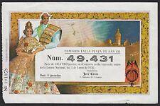 España - Spain - VALENCIA - Participación de lotería fallera de 1956  BC+ = F+