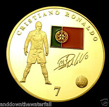 Ronaldo Real Madrid Badge World Cup 2014 Gold Coin Autograph Footballer Man U C