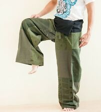 Extra Long Patchwork Fisherman Pants Hippie Yoga Massage Trousers Green SOX6