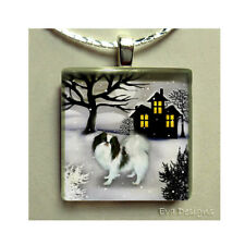 JAPANESE CHIN DOG WINTER HOUSE ART NECKLACE JEWELRY GLASS TILE PENDANT & CHAIN