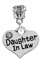 Daughter in Law Heart Rhinestone Family Gift Dangle Bead for Euro Charm Bracelet