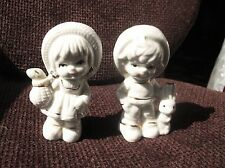 PAIR ADORABLE GILDED WHITE CHINA FIGURINES BOY WITH RABBIT GIRL WITH FISH BASKET