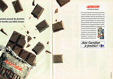 PUBLICITE ADVERTISING 054  1990  SUPERMARCHE CARREFOUR( 2pa) les chocolats light