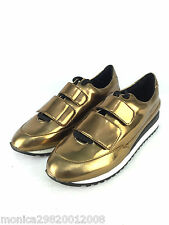ZARA GOLD TRAINERS SNEAKERS WITH VELCRO STRAPS SIZE UK6/EUR39/US8