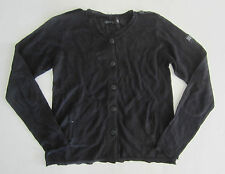 IKKS Girls Sweater Black Linen Cardigan Rhinestone Detail Childrens 6 NWT $85