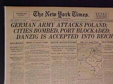 VINTAGE NEWSPAPER HEADLINE ~HITLER NAZIS POLAND INVASION WORLD WAR 2 WWII STARTS