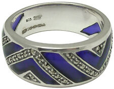 RING WITH BLUE ENAMEL & MARCASITE 925 SILVER HALLMARKED NEW FROM ARI D NORMAN