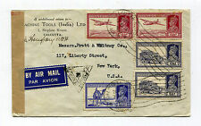 INDIA 1941 (?) World War II Air Mail Censored Cover to New York
