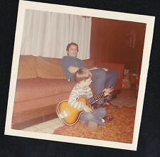 Vintage Photograph Dad With Little Boy Sitting on Floor Playing the Guitar 1970