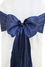 "100 Navy Blue Satin Chair Cover Sash Bows 6"" x 108"" Banquet Wedding Made in USA"