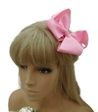 Gorgeous 12 cm Ruffle Bow Hair Clip Grip in Baby Pink Ribbed Ribbon Fabric